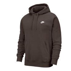 Nike Sportswear Mens Club Fleece Hoodie Brown XS, Brown, rebel_hi-res
