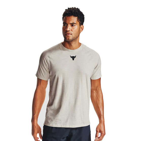 Under Armour Mens Project Rock Charged Cotton Tee, White, rebel_hi-res