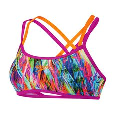Speedo Womens Fraser Double Cross Swim Top Print 8 Adults, Print, rebel_hi-res