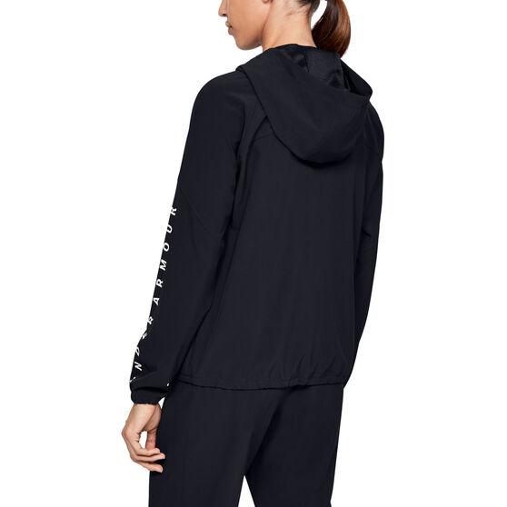 Under Armour Womens Woven Branded Full Zip Hoodie Black XS, Black, rebel_hi-res