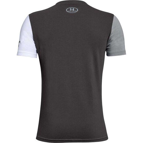 Under Armour Boys Big SC30 Logo Tee, White / Grey, rebel_hi-res