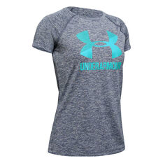 Under Armour Girls Big Logo Twist Tee Grey / Blue XS, Grey / Blue, rebel_hi-res