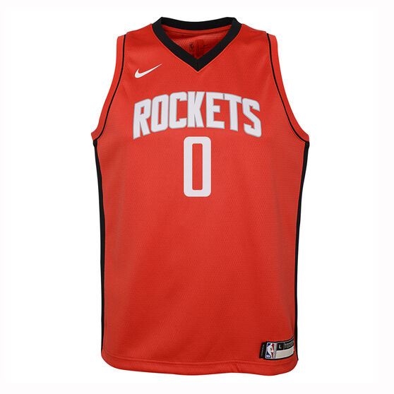 Nike Houston Rockets Russell Westbrook 2019/20 Kids Swingman Jersey Red S, Red, rebel_hi-res