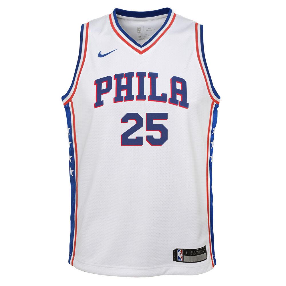 buy online 8a40d bc720 Nike Philadelphia 76ers Ben Simmons Association 2019 Kids Swingman Jersey  White / Blue M