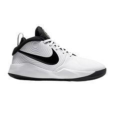 Nike Team Hustle D 9 Kids Basketball Shoes White / Black US 4, White / Black, rebel_hi-res