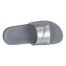 Nike Kawa Kids Slides Silver / White US 11, Silver / White, rebel_hi-res
