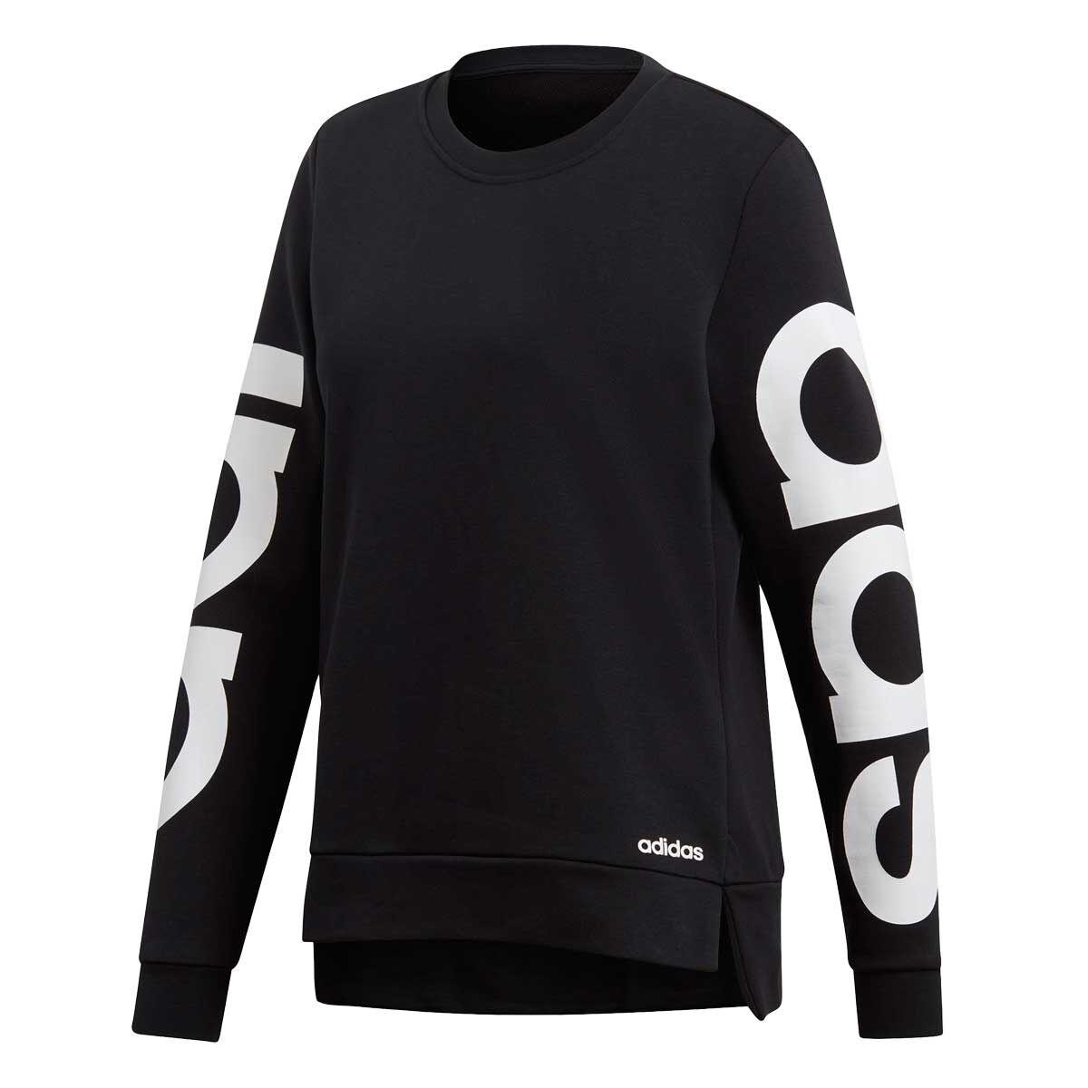adidas Womens Essentials Season Branded Sweatshirt Black White XS
