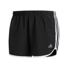 adidas Womens Marathon 20 Running Shorts Black / White XS, Black / White, rebel_hi-res
