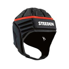 Steeden Elite Rugby League Headgear Black Junior, Black, rebel_hi-res