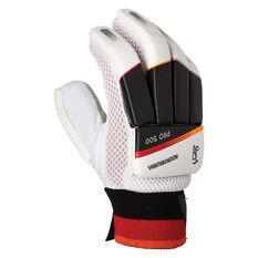 Kookaburra Blaze Pro 500 Junior Cricket Batting Gloves White / Orange Youth Right Hand, White / Orange, rebel_hi-res