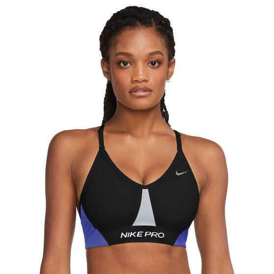 Nike Pro Womens Dri-FIT Indy Colour-block Padded Sports Bra, Black, rebel_hi-res