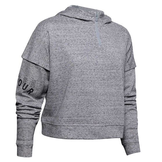 Under Armour Womens Rival Terry Hoodie, Grey, rebel_hi-res