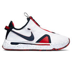 Nike PG 4 Mens Basketball Shoes White/Navy US 7, White/Navy, rebel_hi-res