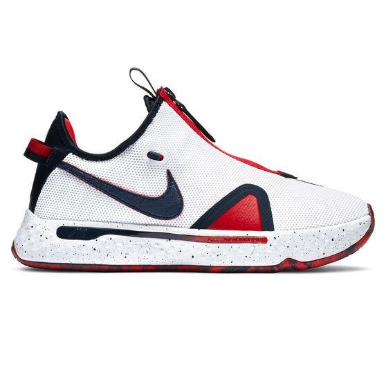 Nike PG 4 Mens Basketball Shoes, White/Navy, rebel_hi-res
