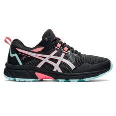 Asics GEL Venture 8 D Womens Trail Running Shoes Black/Blue US 7, Black/Blue, rebel_hi-res