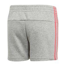 adidas Girls VS Essential 3 Stripe Shorts Grey / Pink 6, Grey / Pink, rebel_hi-res