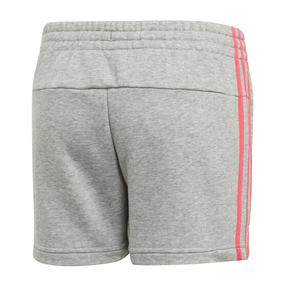 adidas Girls VS Essential 3 Stripe Shorts, Grey / Pink, rebel_hi-res