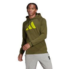 Adidas Mens FI Hoodie Green S, Green, rebel_hi-res