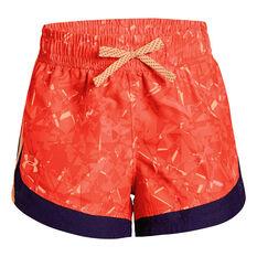 Under Armour Girls Sprint Novelty Shorts Orange XS, Orange, rebel_hi-res