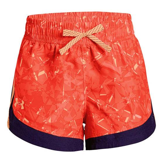 Under Armour Girls Sprint Novelty Shorts, Orange, rebel_hi-res
