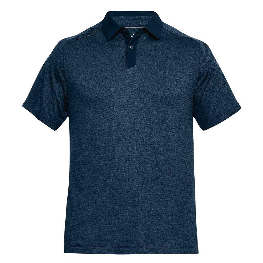 32fea72f3e3 Under Armour Mens Threadborne Polo Shirt Navy   Grey S Adult