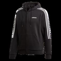 adidas Mens 3 Stripe Fleece Hoodie Black / White XS, Black / White, rebel_hi-res