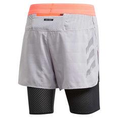 adidas Mens HEAT.RDY 2 in 1 Running Shorts Grey S, Grey, rebel_hi-res