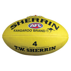 Sherrin Synthetic Australian Rules Ball Yellow 4, Yellow, rebel_hi-res