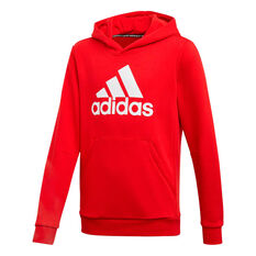 adidas Boys Pullover Hoodie Red / White 6, Red / White, rebel_hi-res