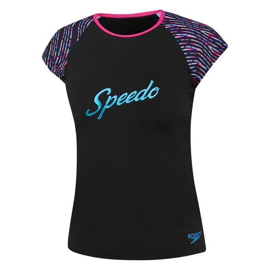 Speedo Girls Logo Cap Sleeve Rash Vest, Black, rebel_hi-res