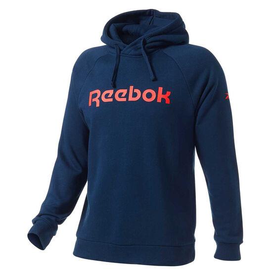 Reebok Mens Fleece Hoodie, Navy, rebel_hi-res