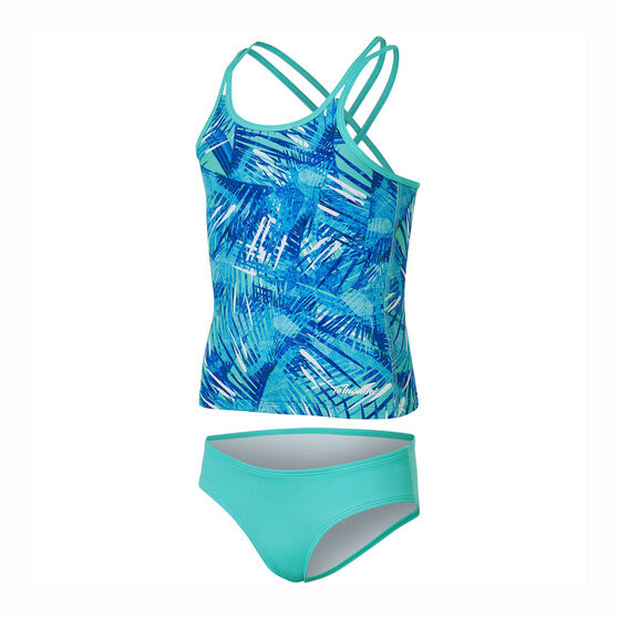 Tahwalhi Girls Take Me To The Tropics Two Piece Swimsuit, Blue / White, rebel_hi-res