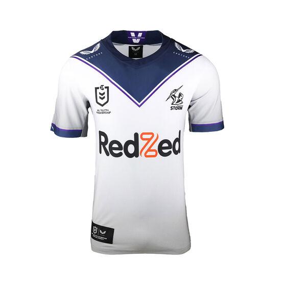 Melbourne Storm 2021 Mens Away Jersey, White, rebel_hi-res