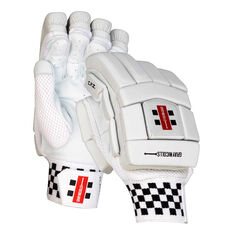 Gray Nicolls Platinum Cricket Batting Gloves White / Silver Right Hand, White / Silver, rebel_hi-res