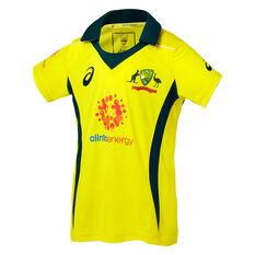 Cricket Australia 2018/19 Kids ODI Home Shirt Yellow 8, Yellow, rebel_hi-res