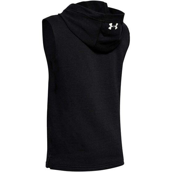 Under Armour Boys Project Rock Sleeveless Fleece Hoodie, Black / White, rebel_hi-res