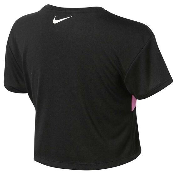 Nike Girls Swoosh Crop Tee, Black / Pink, rebel_hi-res