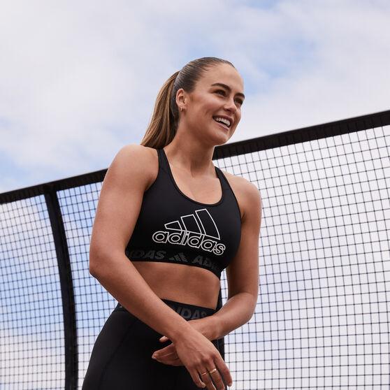 adidas Womens Don't Rest Branded Sports Bra, Black, rebel_hi-res