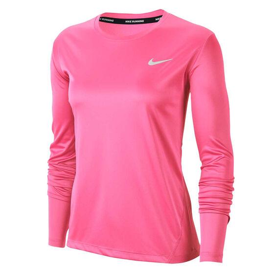 Nike Womens Miler Running Top, Pink, rebel_hi-res