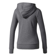 adidas Womens Essentials 3 Stripes Full Zip Hoodie Grey / White XS, Grey / White, rebel_hi-res