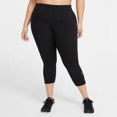 Nike One Womens Mid-Rise Crop Tights Plus Black XL, Black, rebel_hi-res