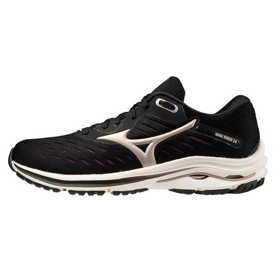 Mizuno Wave Rider 24 Womens Running Shoes, Black/Gold, rebel_hi-res