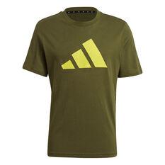adidas Mens Sportswear Logo Tee Khaki S, Khaki, rebel_hi-res