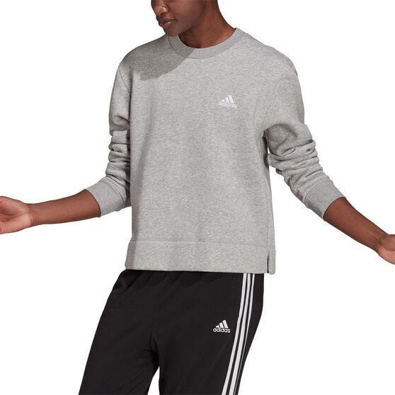 adidas Womens Essentials Small Logo Fleece Cropped Sweatshirt, Grey, rebel_hi-res