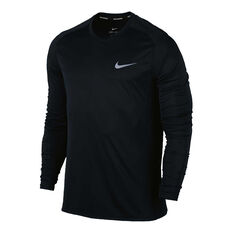 Nike Mens Dri FIT Miler Long Sleeve Tee Black S, Black, rebel_hi-res