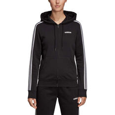 adidas Womens Essentials 3 Stripes Fleece Full Zip Hoodie, Black, rebel_hi-res