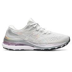 Asics GEL Kayano 28 Platinum Womens Running Shoes Grey/Silver US 6, Grey/Silver, rebel_hi-res