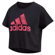 adidas Womens Sport ID Graphic Tee, Black, rebel_hi-res