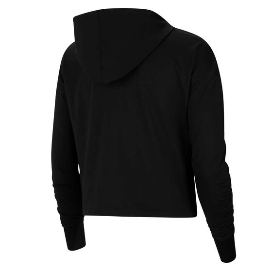 Nike Yoga Womens Jersey Cropped Hoodie, Black, rebel_hi-res