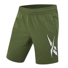 Reebok Mens Workout Ready Woven Graphic Training Shorts Green S, Green, rebel_hi-res